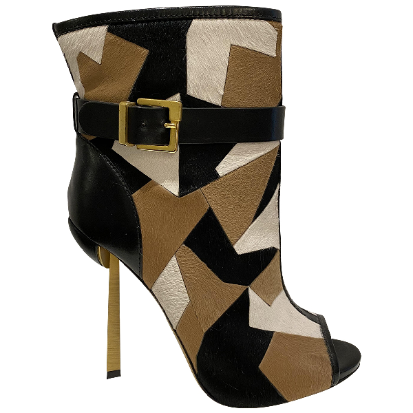 Sergio Rossi Beige Pony-style Calfskin Ankle Boots