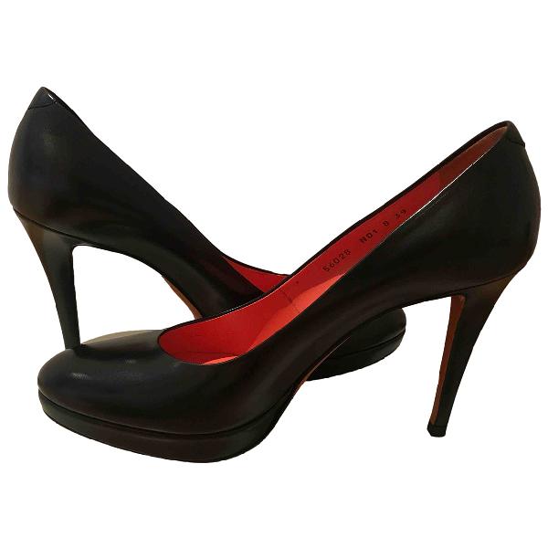 Santoni Black Leather Heels