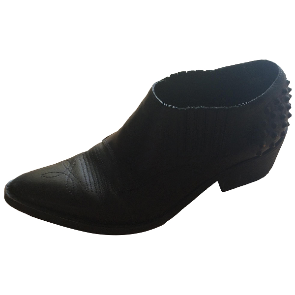 Sandro Black Leather Ankle Boots