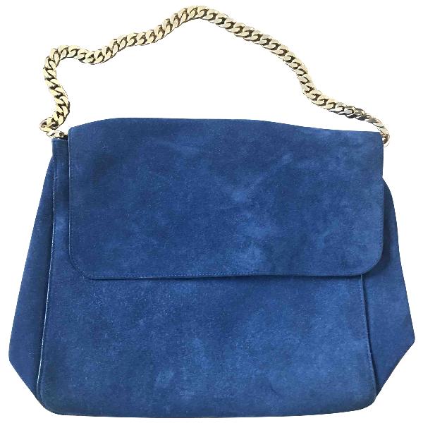 Celine Gourmette Blue Suede Handbag