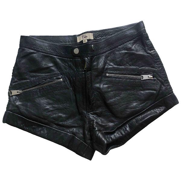 Rika Black Leather Shorts