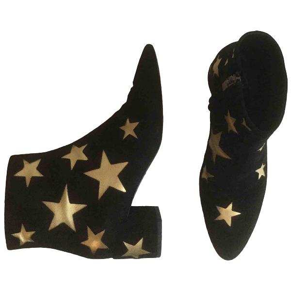 Saint Laurent Loulou Black Suede Ankle Boots