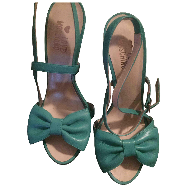 Moschino Turquoise Leather Sandals
