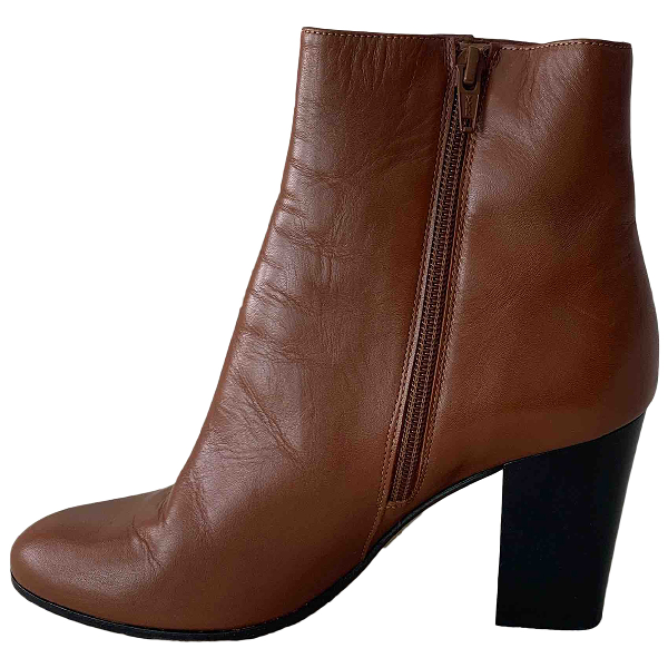 Maje Fall Winter 2019 Camel Leather Ankle Boots