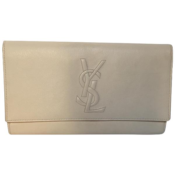 Saint Laurent Belle De Jour Beige Leather Clutch Bag