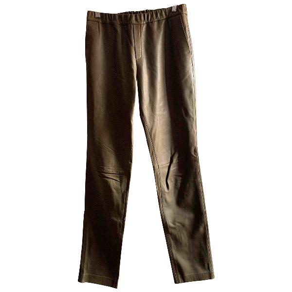 American Vintage Khaki Leather Trousers