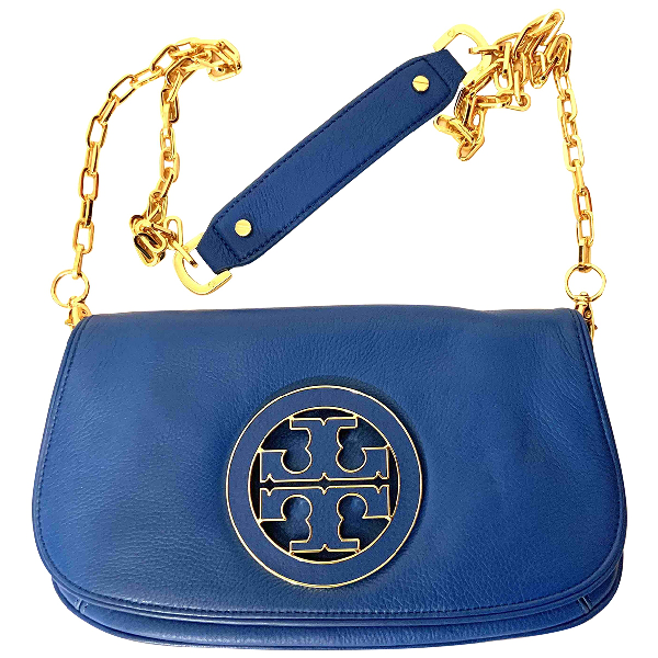 Tory Burch Blue Leather Clutch Bag