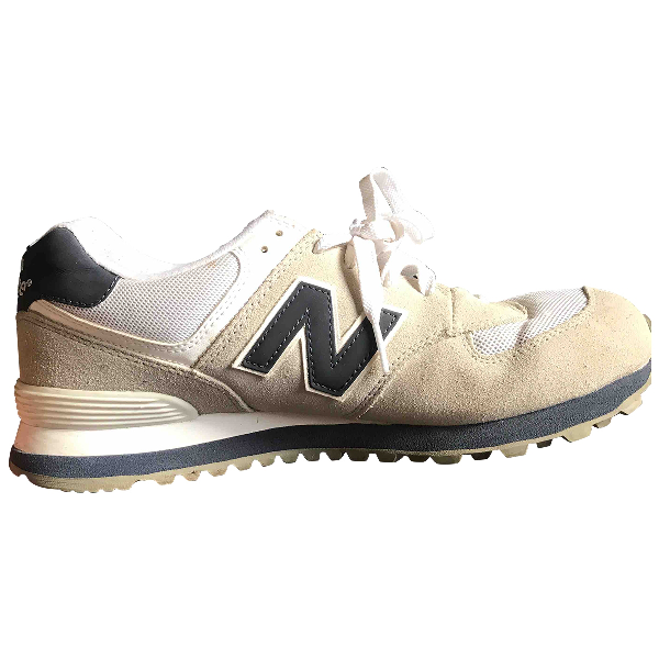 New Balance White Suede Trainers