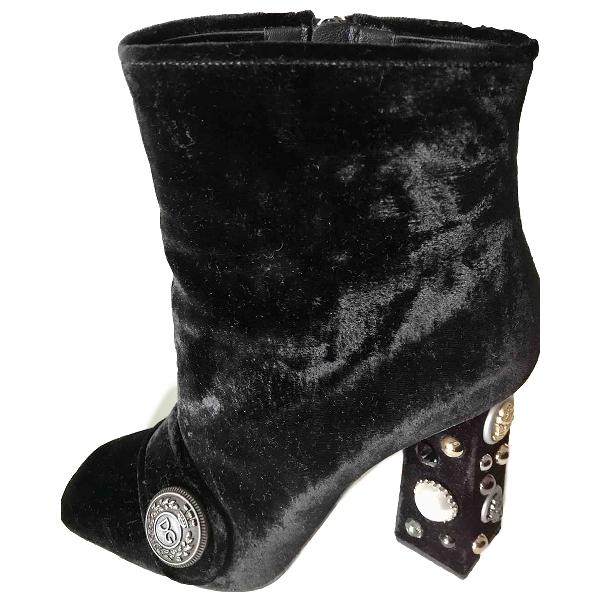 Dolce & Gabbana Black Velvet Ankle Boots