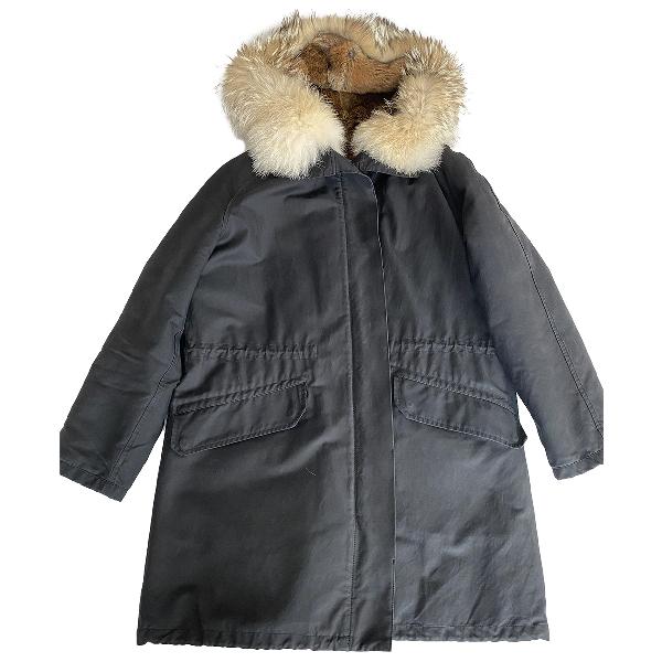 Yves Salomon Navy Rabbit Coat