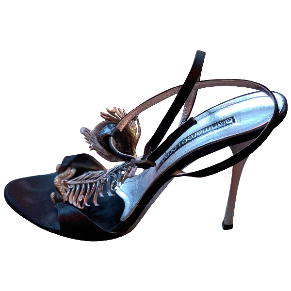Gianmarco Lorenzi Black Cloth Sandals