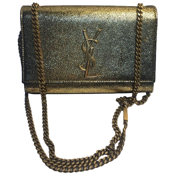 Saint Laurent Kate Monogramme Gold Leather Handbag