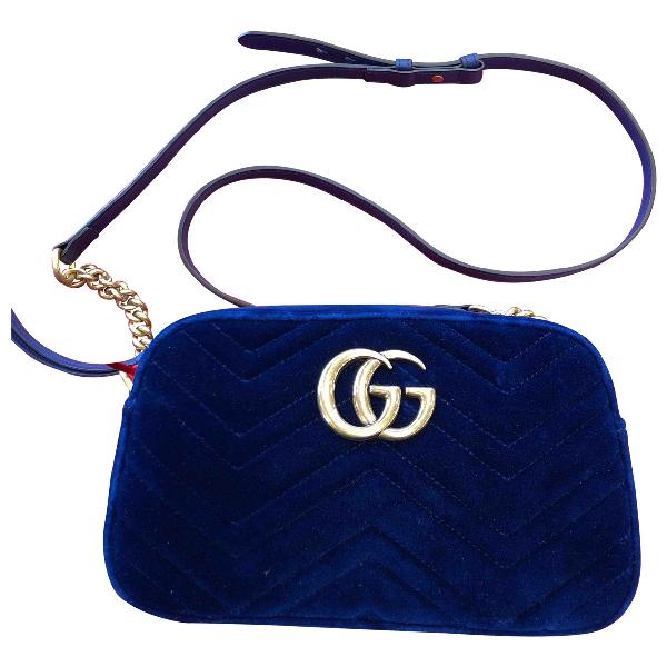 Gucci Marmont Blue Velvet Handbag
