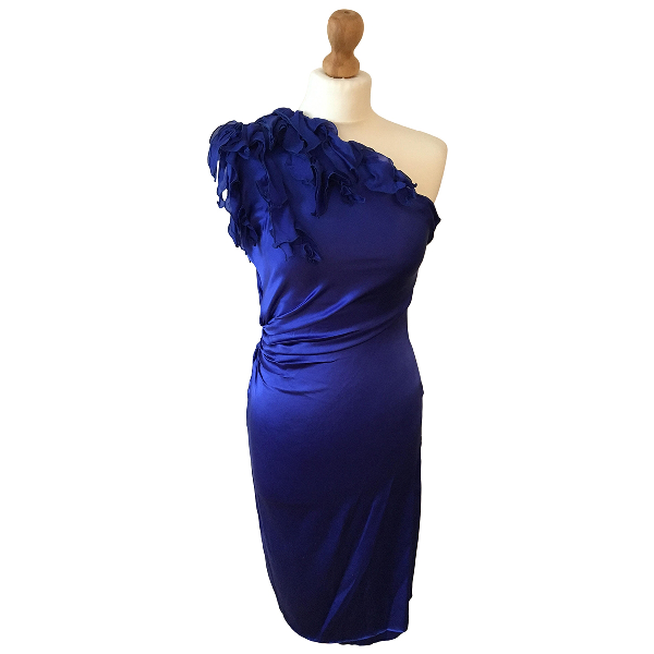 Roberto Cavalli Blue Silk Dress