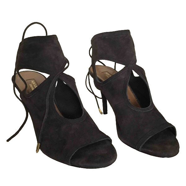 Aquazzura Sexy Thing Black Suede Sandals