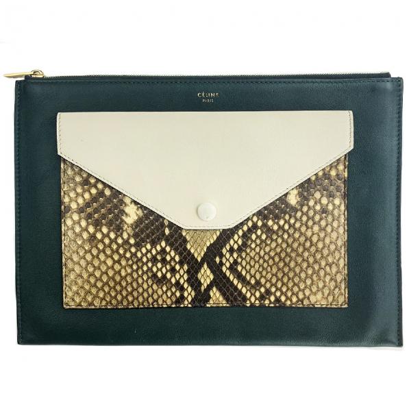 Celine Pocket Black Python Clutch Bag