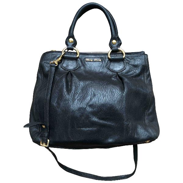 Miu Miu Vitello Black Leather Handbag