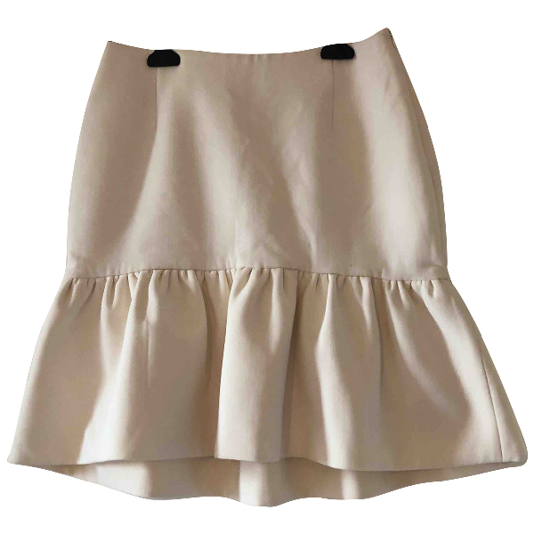 Msgm White Wool Skirt