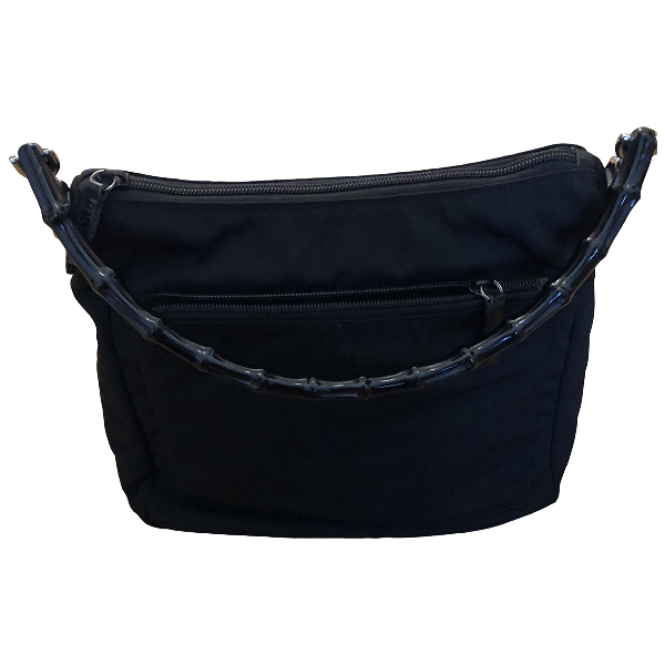 Gucci Bamboo Black Cloth Handbag