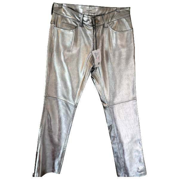 Etoile Isabel Marant Silver Leather Trousers