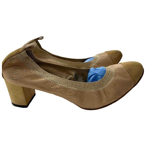 Chanel Gold Cloth Heels