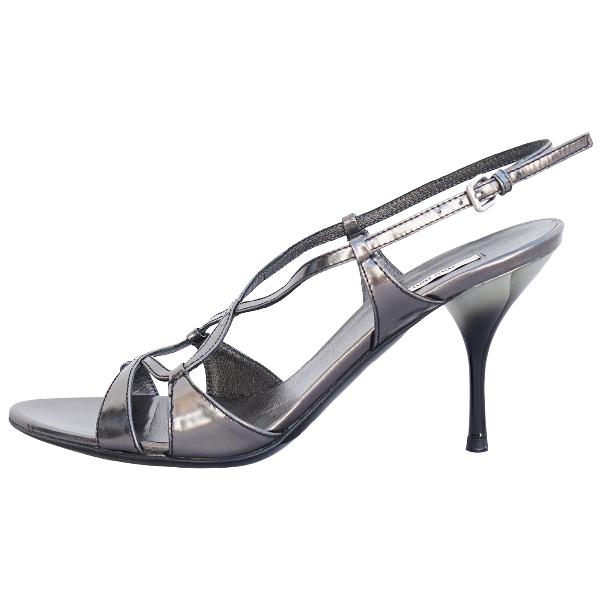 Miu Miu Metallic Patent Leather Sandals