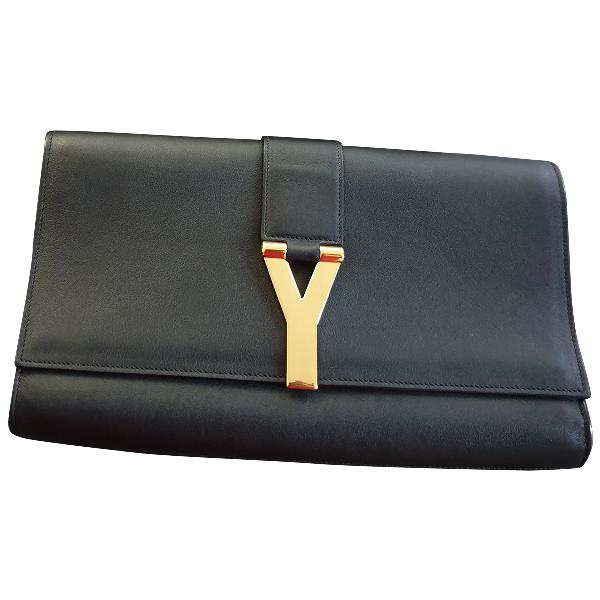 Saint Laurent Chyc Black Leather Clutch Bag