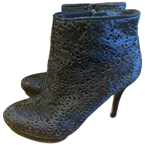 Bcbg Max Azria Black Pony-style Calfskin Ankle Boots