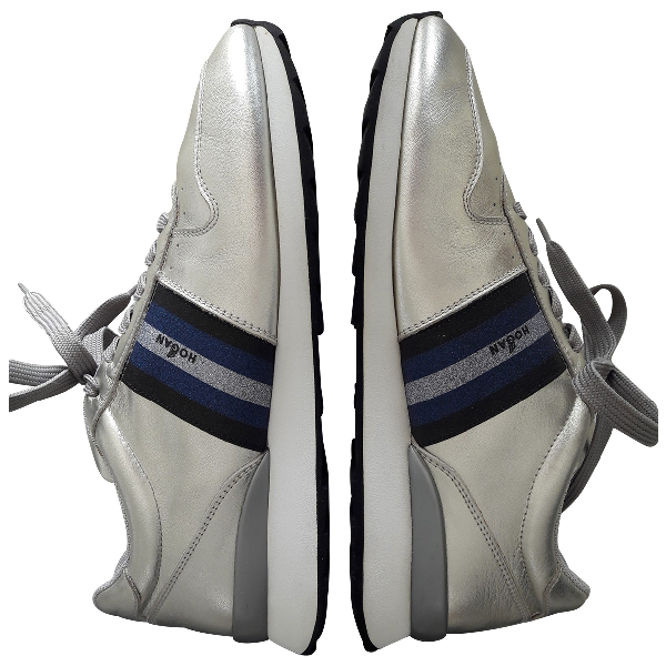 Hogan Silver Leather Trainers