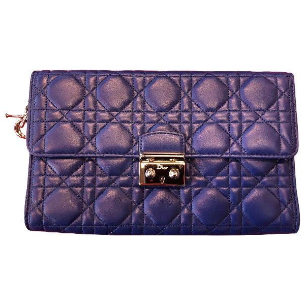 Dior Blue Leather Clutch Bag