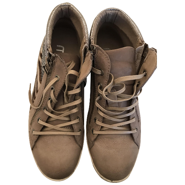 Museum Beige Leather Trainers