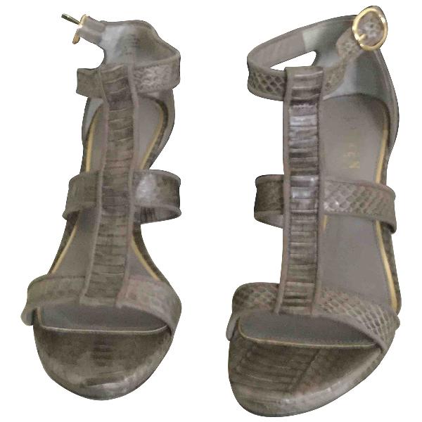 Ralph Lauren Grey Exotic Leathers Sandals