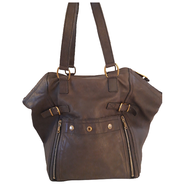 Saint Laurent Downtown Khaki Leather Handbag