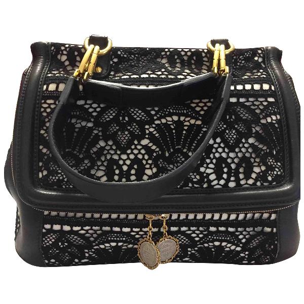 Dolce & Gabbana Sicily Black Cotton Handbag