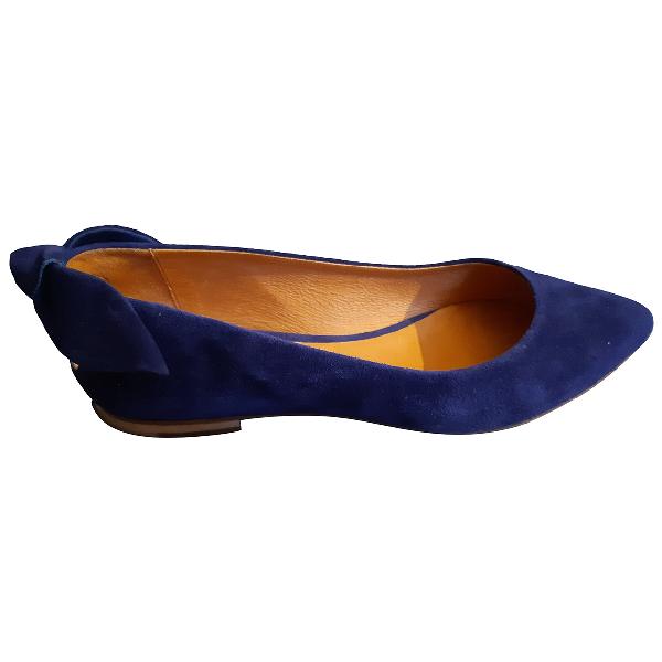 Comptoir Des Cotonniers Blue Leather Ballet Flats