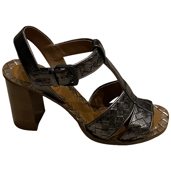 Bottega Veneta Metallic Leather Sandals