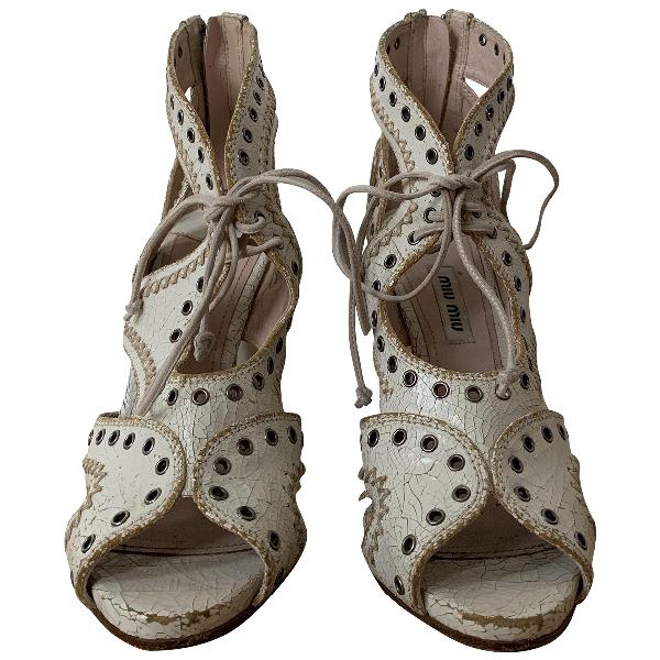 Miu Miu White Leather Heels