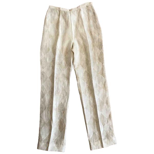 Anna Sui Beige Linen Trousers