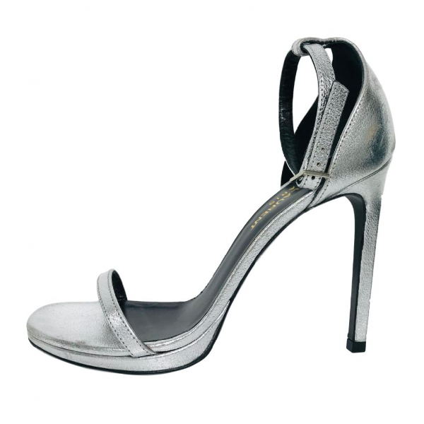 Saint Laurent Amber Silver Leather Sandals