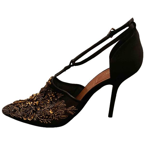 Alberta Ferretti Black Glitter Heels