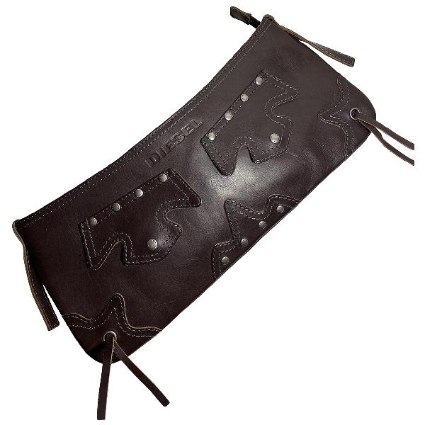 Diesel Brown Leather Clutch Bag