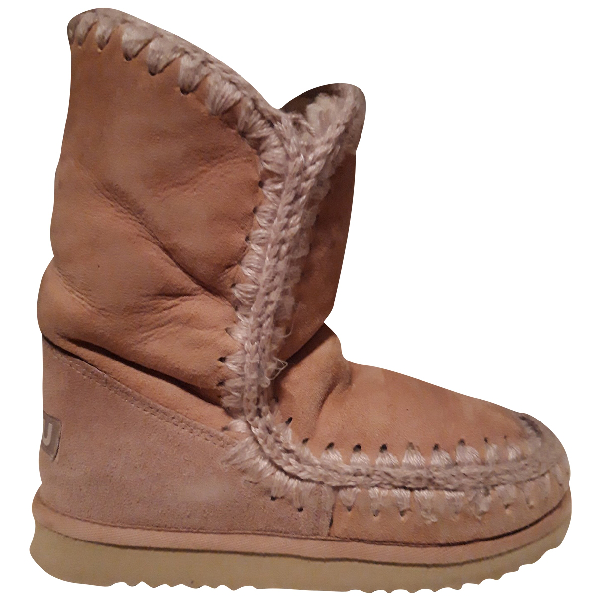 Mou Beige Suede Ankle Boots