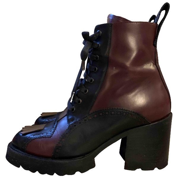 Dries Van Noten Burgundy Leather Ankle Boots