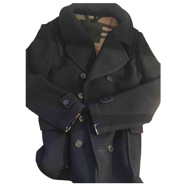 Burberry Navy Wool Coat