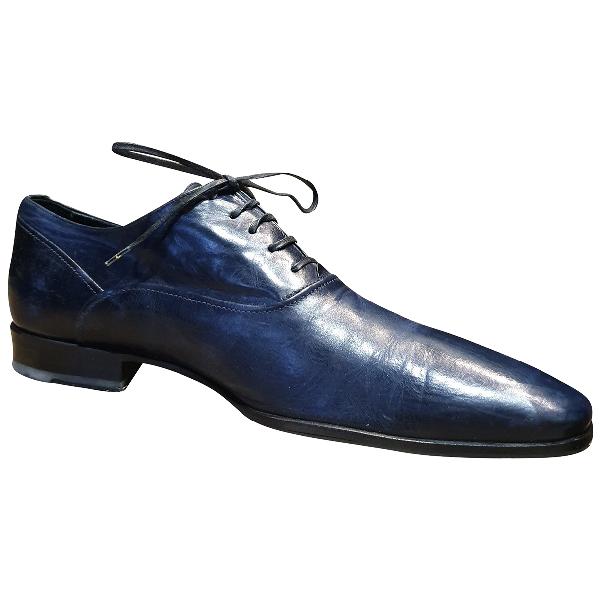 Doucal's Navy Leather Lace Ups