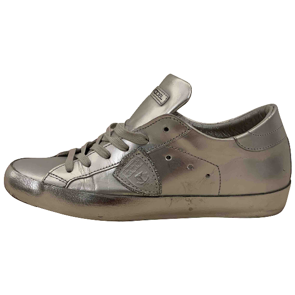 Philippe Model Silver Leather Trainers