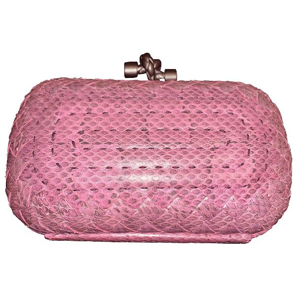 Bottega Veneta Pochette Knot Pink Python Clutch Bag