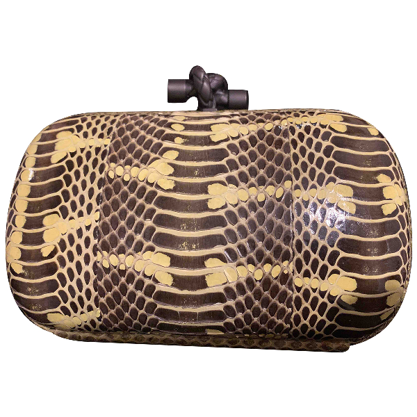 Bottega Veneta Pochette Knot Yellow Lizard Clutch Bag