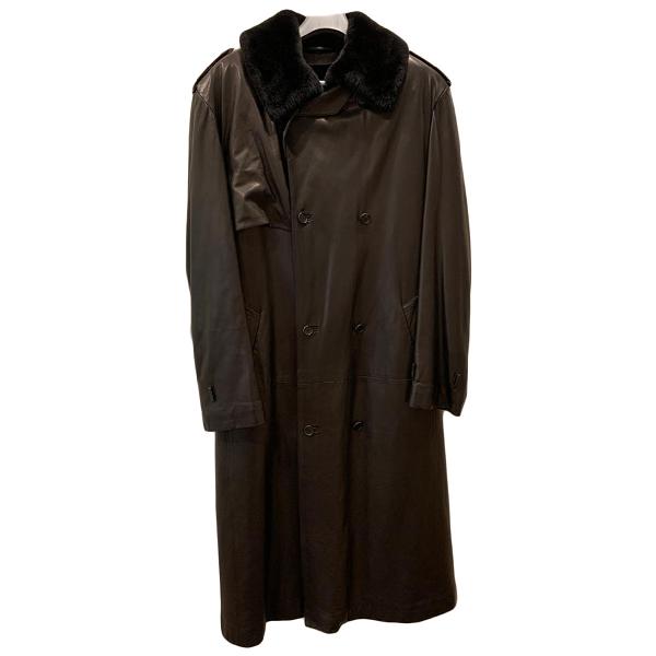 Brioni Brown Leather Coat