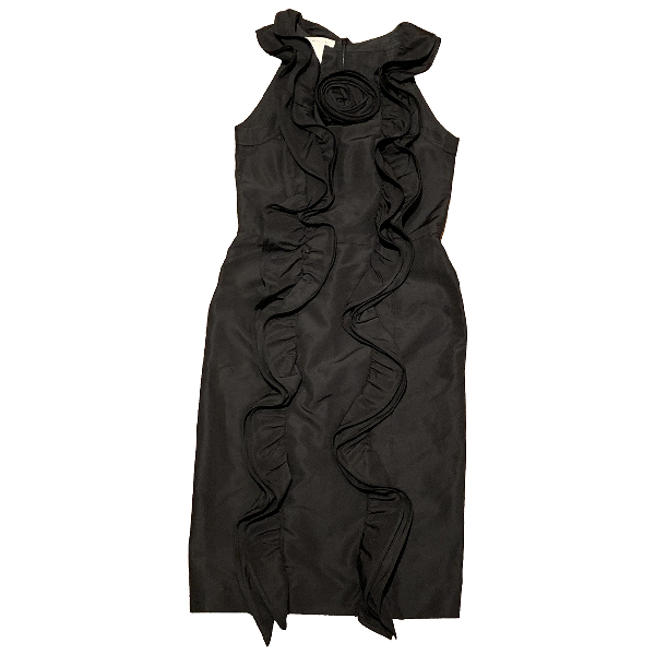 Oscar De La Renta Black Silk Dress